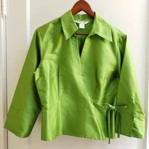Allison Taylor | 10 green silk wrap top with tie
